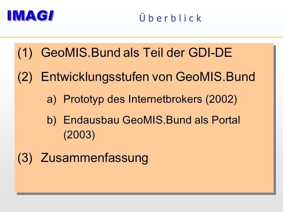 Ü b e r b l i c k (1)GeoMIS.Bund als Teil der GDI-DE (2)Entwicklungsstufen von GeoMIS.Bund a)Prototyp des Internetbrokers (2002) b)Endausbau GeoMIS.Bu