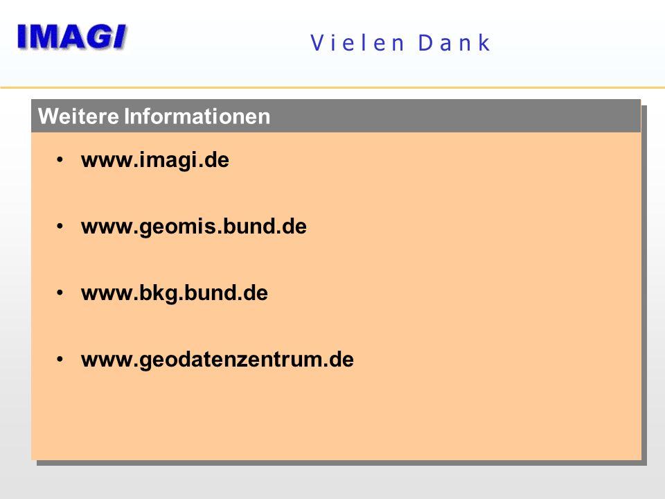 Weitere Informationen V i e l e n D a n k www.imagi.de www.geomis.bund.de www.bkg.bund.de www.geodatenzentrum.de