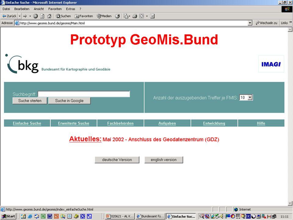 Attribute: GeoMIS.Bund (2) Weiterleitung zu den Details bzw.