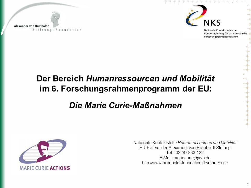 1 Der Bereich Humanressourcen und Mobilität im 6. Forschungsrahmenprogramm der EU: Die Marie Curie-Maßnahmen Nationale Kontaktstelle Humanressourcen u