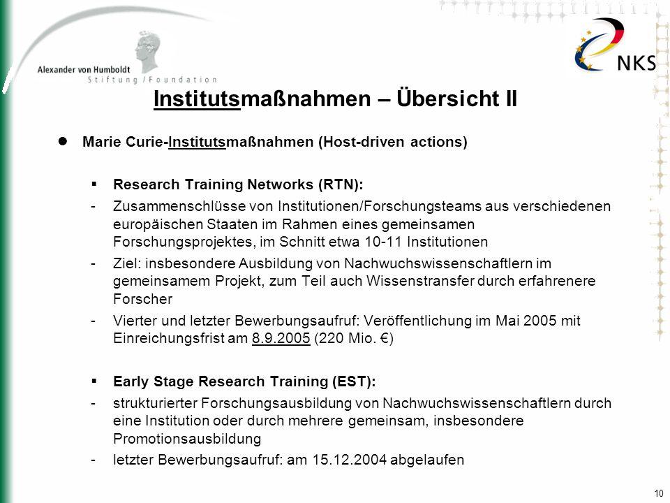 10 Institutsmaßnahmen – Übersicht II Marie Curie-Institutsmaßnahmen (Host-driven actions) Research Training Networks (RTN): -Zusammenschlüsse von Inst