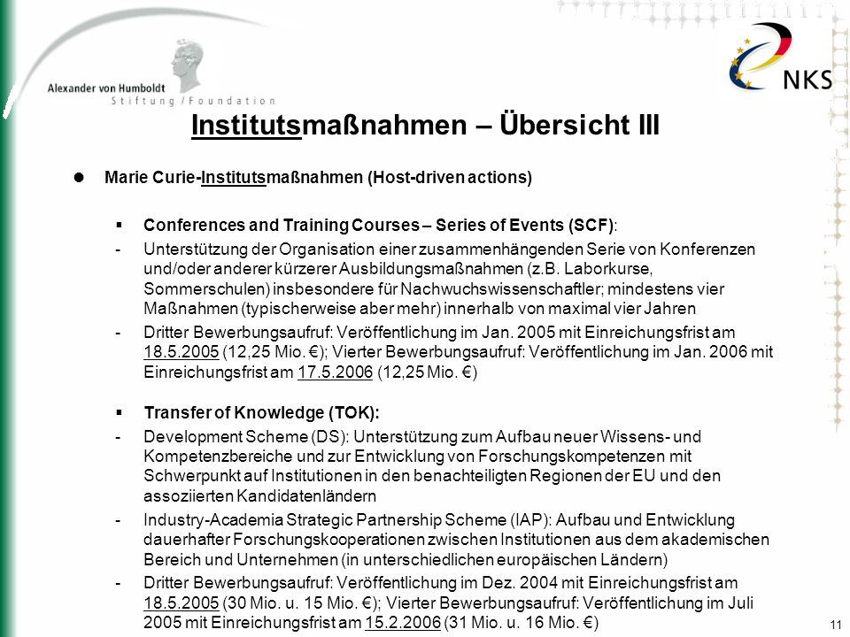 11 Institutsmaßnahmen – Übersicht III Marie Curie-Institutsmaßnahmen (Host-driven actions) Conferences and Training Courses – Series of Events (SCF):