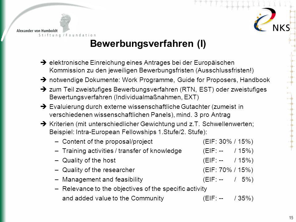 15 Bewerbungsverfahren (I) elektronische Einreichung eines Antrages bei der Europäischen Kommission zu den jeweiligen Bewerbungsfristen (Ausschlussfri