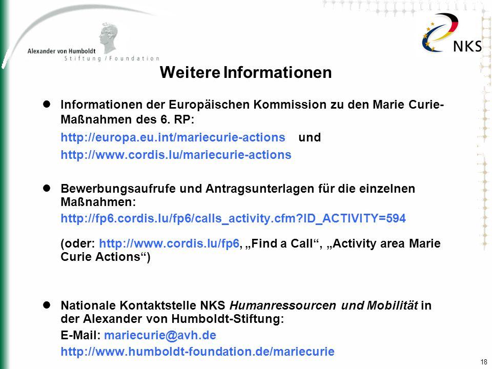 18 Weitere Informationen Informationen der Europäischen Kommission zu den Marie Curie- Maßnahmen des 6. RP: http://europa.eu.int/mariecurie-actions un