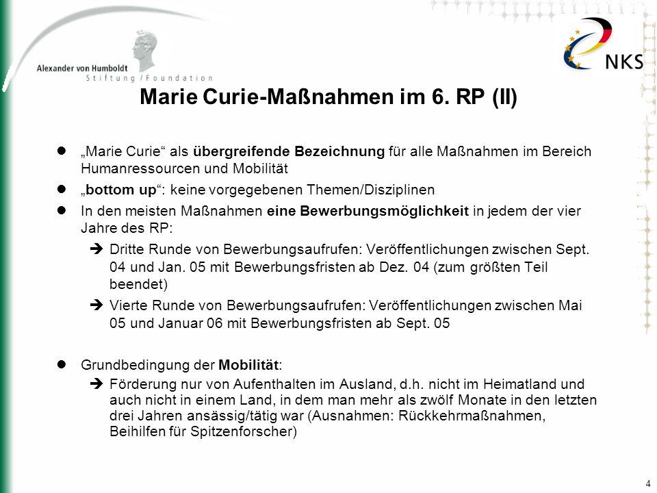 4 Marie Curie-Maßnahmen im 6. RP (II) Marie Curie als übergreifende Bezeichnung für alle Maßnahmen im Bereich Humanressourcen und Mobilität bottom up: