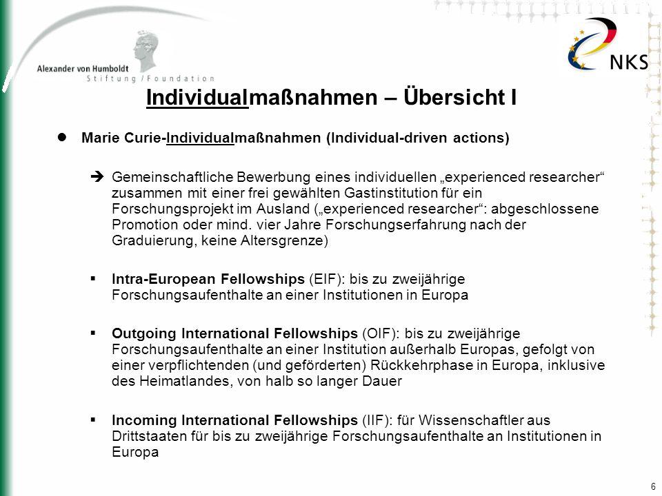 17 Finanzielle Beiträge der EU Zahlungen für einzelne Forscher und für Gastinstitutionen in insgesamt neun Kostenkategorien, die abhängig von der jeweiligen Maßnahme unterschiedlich angewendet werden Zahlungen erfolgen immer an die gastgebende(n) Institution(en) als Vertragspartner der EU; die Institution ist für die entsprechende Weiterleitung bzw.