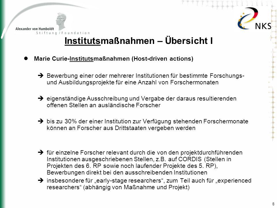 8 Institutsmaßnahmen – Übersicht I Marie Curie-Institutsmaßnahmen (Host-driven actions) Bewerbung einer oder mehrerer Institutionen für bestimmte Fors