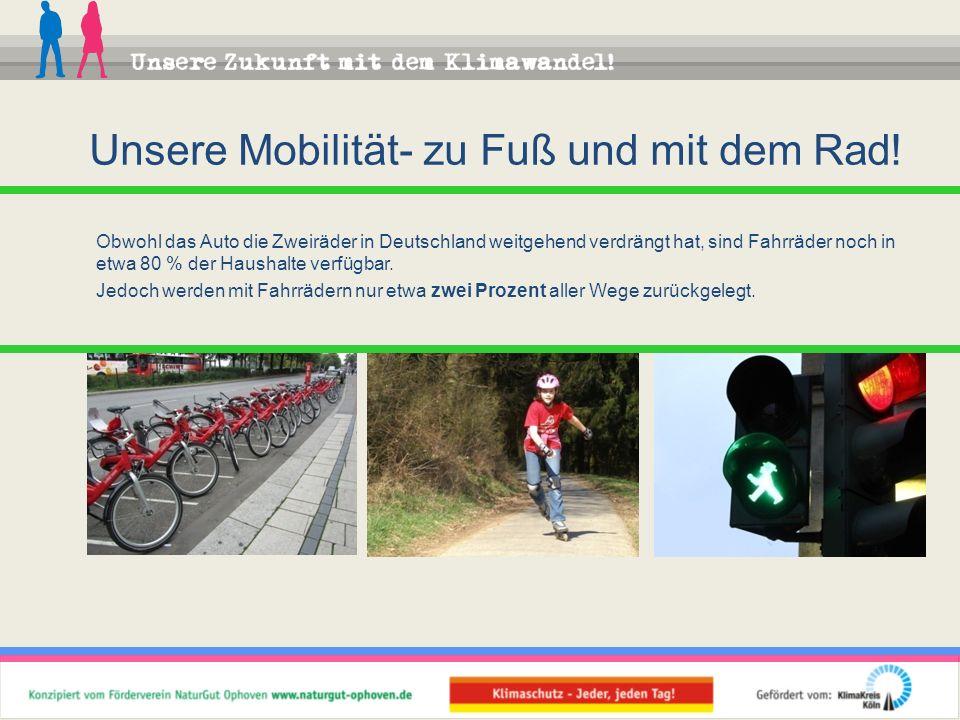 Obwohl das Auto die Zweiräder in Deutschland weitgehend verdrängt hat, sind Fahrräder noch in etwa 80 % der Haushalte verfügbar. Jedoch werden mit Fah