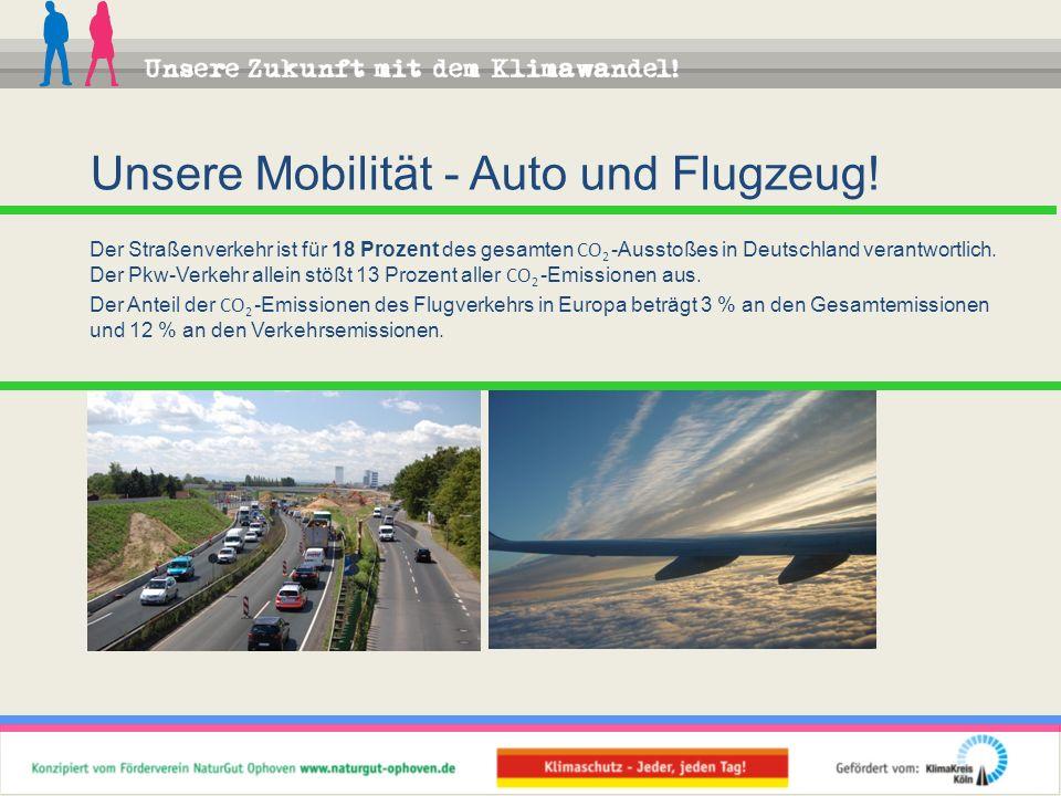 Der Straßenverkehr ist für 18 Prozent des gesamten CO 2 -Ausstoßes in Deutschland verantwortlich. Der Pkw-Verkehr allein stößt 13 Prozent aller CO 2 -