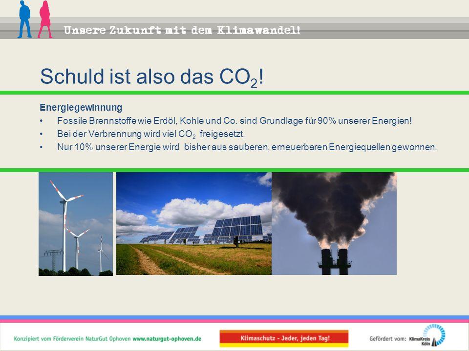 Energiegewinnung Fossile Brennstoffe wie Erdöl, Kohle und Co. sind Grundlage für 90% unserer Energien! Bei der Verbrennung wird viel CO 2 freigesetzt.