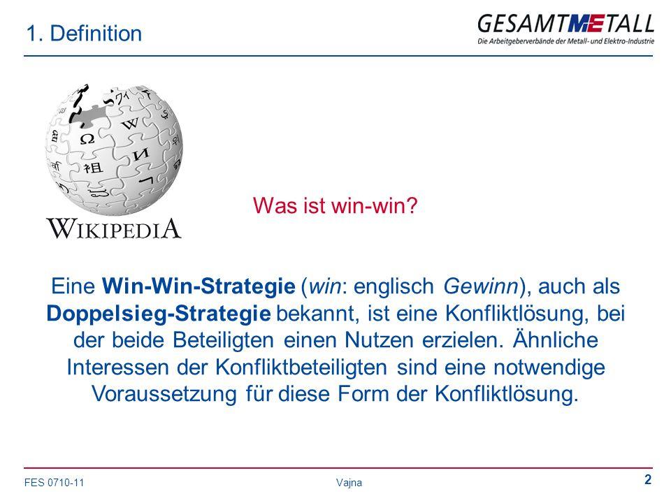 FES 0710-11 Vajna 2 1. Definition Was ist win-win? Eine Win-Win-Strategie (win: englisch Gewinn), auch als Doppelsieg-Strategie bekannt, ist eine Konf