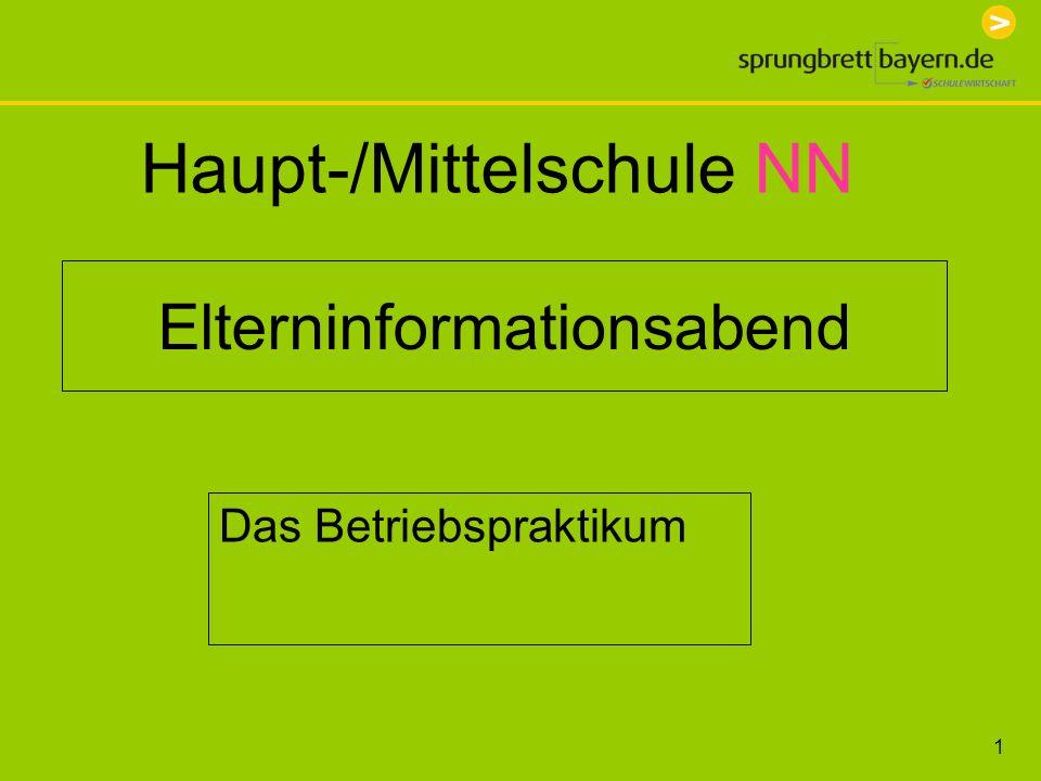 1 Elterninformationsabend Das Betriebspraktikum Haupt-/Mittelschule NN