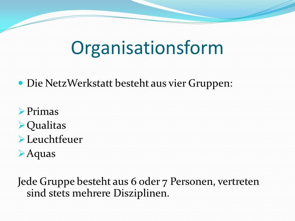 Organisationsform Die NetzWerkstatt besteht aus vier Gruppen: Primas Qualitas Leuchtfeuer Aquas Jede Gruppe besteht aus 6 oder 7 Personen, vertreten s