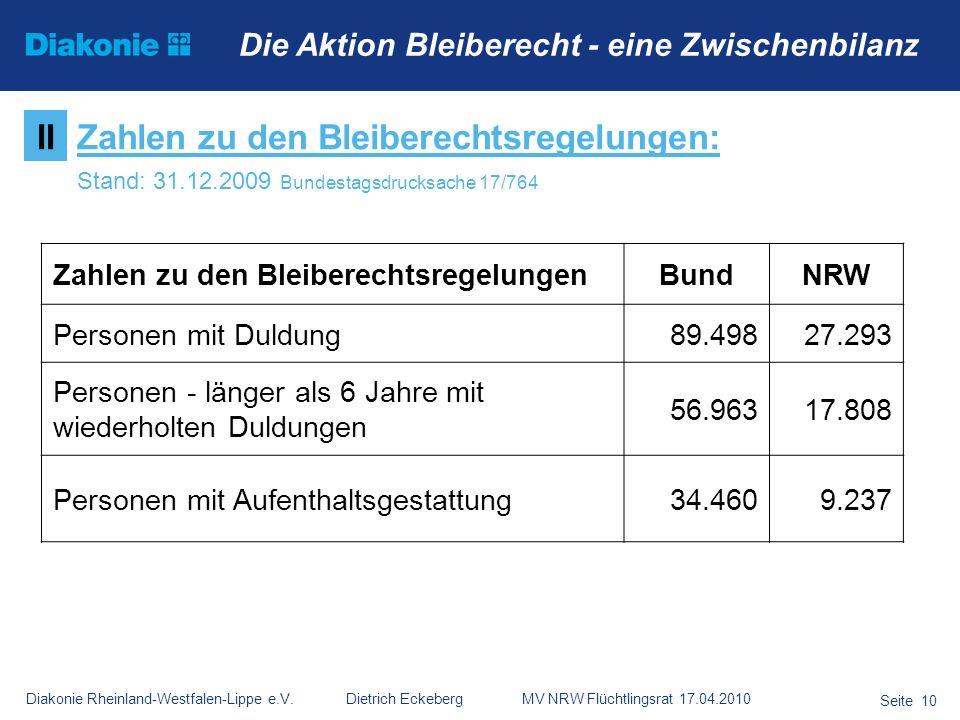 Diakonie Rheinland-Westfalen-Lippe e.V. Dietrich Eckeberg MV NRW Flüchtlingsrat 17.04.2010 Seite 10 Die Aktion Bleiberecht - eine Zwischenbilanz Zahle
