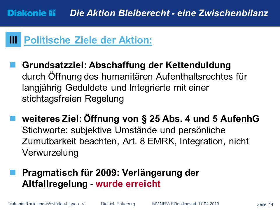Diakonie Rheinland-Westfalen-Lippe e.V. Dietrich Eckeberg MV NRW Flüchtlingsrat 17.04.2010 Seite 14 Die Aktion Bleiberecht - eine Zwischenbilanz Grund
