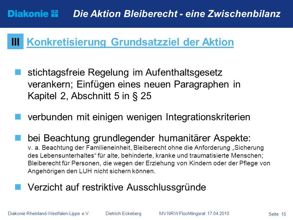 Diakonie Rheinland-Westfalen-Lippe e.V. Dietrich Eckeberg MV NRW Flüchtlingsrat 17.04.2010 Seite 15 Die Aktion Bleiberecht - eine Zwischenbilanz stich