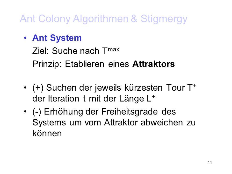 11 Ant Colony Algorithmen & Stigmergy Ant System Ziel: Suche nach T max Prinzip: Etablieren eines Attraktors (+) Suchen der jeweils kürzesten Tour T + der Iteration t mit der Länge L + (-) Erhöhung der Freiheitsgrade des Systems um vom Attraktor abweichen zu können