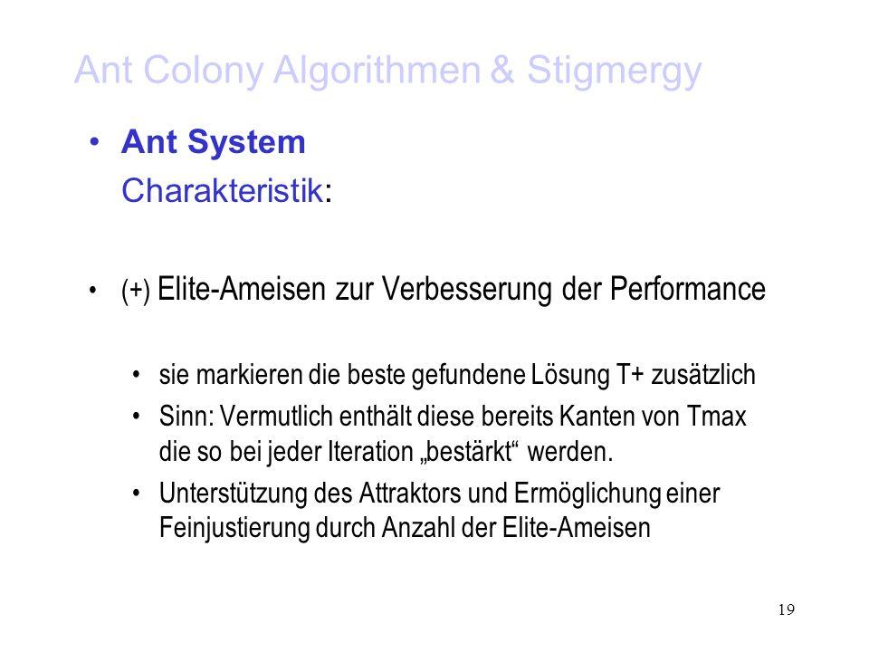 19 Ant Colony Algorithmen & Stigmergy Ant System Charakteristik: (+) Elite-Ameisen zur Verbesserung der Performance sie markieren die beste gefundene