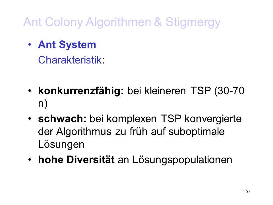 20 Ant Colony Algorithmen & Stigmergy Ant System Charakteristik: konkurrenzfähig: bei kleineren TSP (30-70 n) schwach: bei komplexen TSP konvergierte