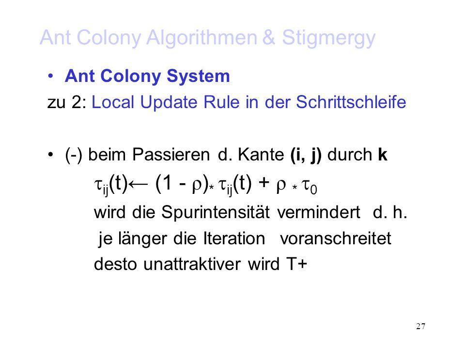 27 Ant Colony Algorithmen & Stigmergy Ant Colony System zu 2: Local Update Rule in der Schrittschleife (-) beim Passieren d.