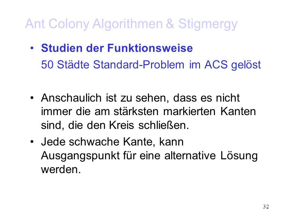 32 Ant Colony Algorithmen & Stigmergy Studien der Funktionsweise 50 Städte Standard-Problem im ACS gelöst Anschaulich ist zu sehen, dass es nicht imme
