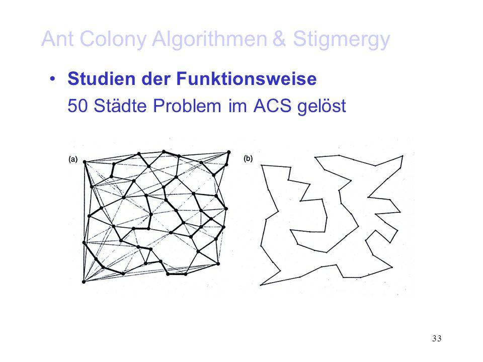 33 Ant Colony Algorithmen & Stigmergy Studien der Funktionsweise 50 Städte Problem im ACS gelöst