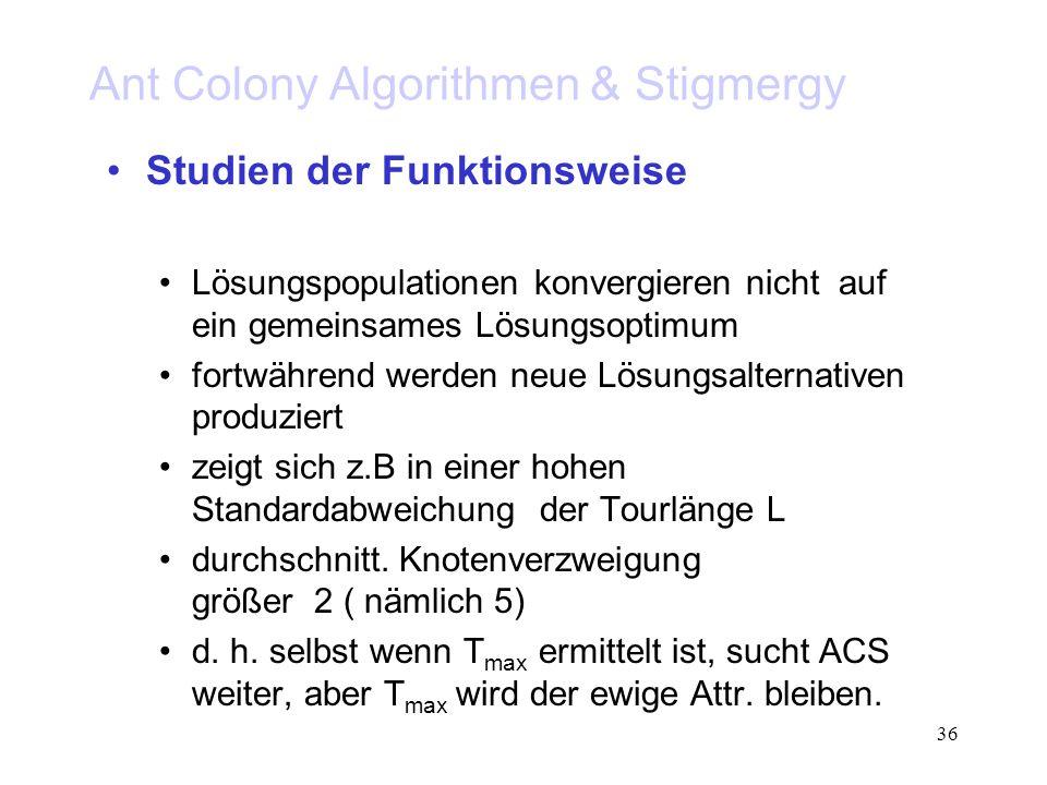 36 Ant Colony Algorithmen & Stigmergy Studien der Funktionsweise Lösungspopulationen konvergieren nicht auf ein gemeinsames Lösungsoptimum fortwährend