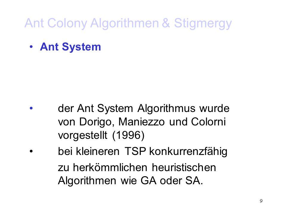 20 Ant Colony Algorithmen & Stigmergy Ant System Charakteristik: konkurrenzfähig: bei kleineren TSP (30-70 n) schwach: bei komplexen TSP konvergierte der Algorithmus zu früh auf suboptimale Lösungen hohe Diversität an Lösungspopulationen