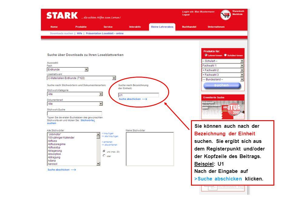 Die Ergebnisliste zeigt Ihnen alle verfügbaren Dokumente zu Ihrer Stichwort-Suche an.