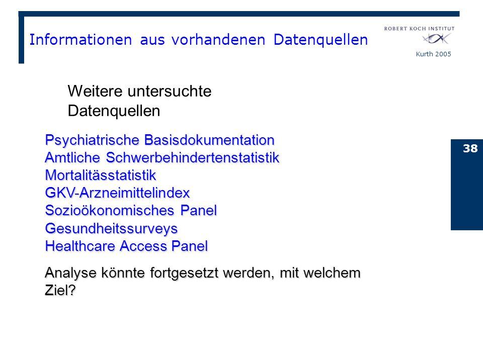 Kurth 2005 38 Informationen aus vorhandenen Datenquellen Psychiatrische Basisdokumentation Amtliche Schwerbehindertenstatistik Mortalitässtatistik GKV