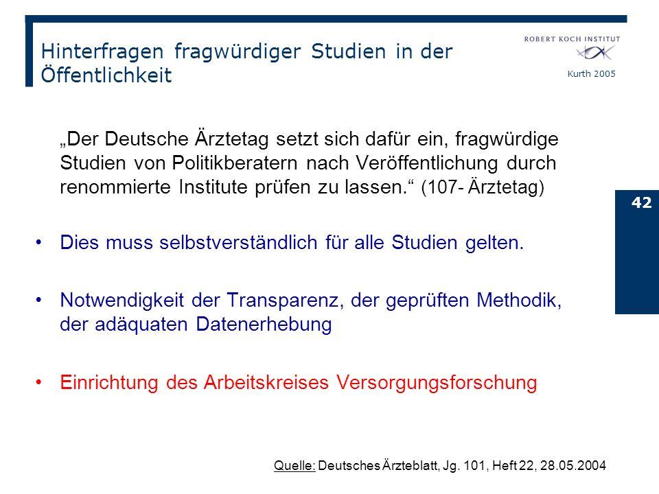 Kurth 2005 42 Hinterfragen fragwürdiger Studien in der Öffentlichkeit Der Deutsche Ärztetag setzt sich dafür ein, fragwürdige Studien von Politikberat