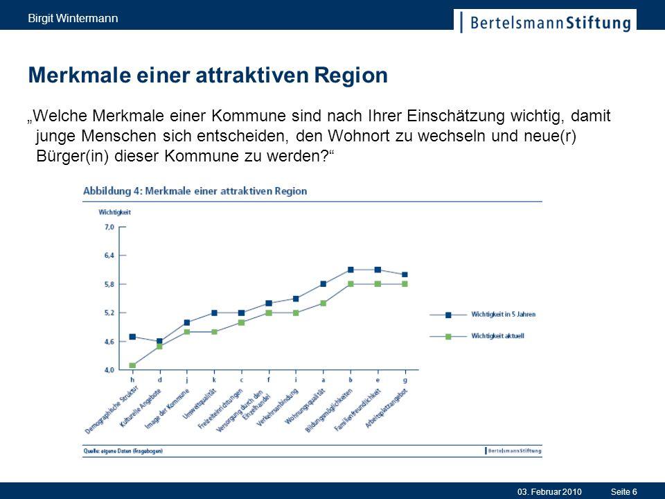 03. Februar 2010 Birgit Wintermann Seite 6 Merkmale einer attraktiven Region Welche Merkmale einer Kommune sind nach Ihrer Einschätzung wichtig, damit