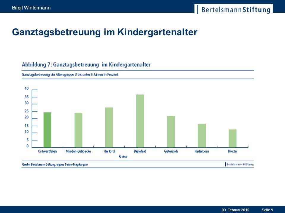 03. Februar 2010 Birgit Wintermann Seite 9 Ganztagsbetreuung im Kindergartenalter