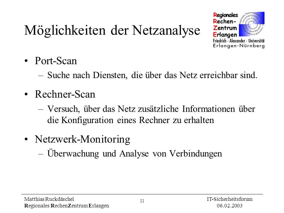 11 Matthias Ruckdäschel Regionales RechenZentrum Erlangen IT-Sicherheitsforum 06.02.2003 Möglichkeiten der Netzanalyse Port-Scan –Suche nach Diensten,