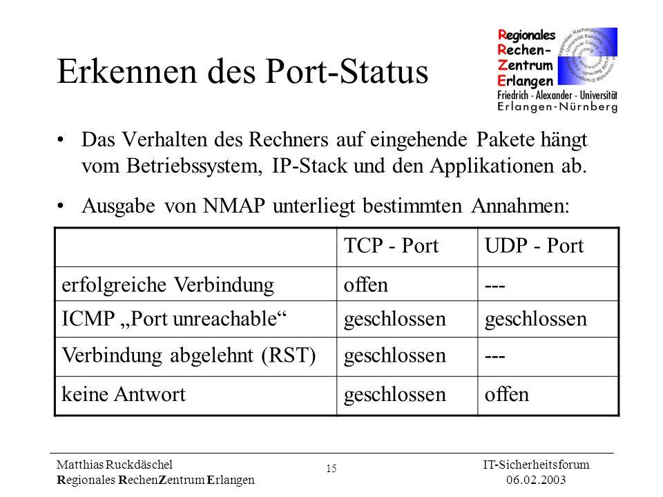 15 Matthias Ruckdäschel Regionales RechenZentrum Erlangen IT-Sicherheitsforum 06.02.2003 Erkennen des Port-Status Das Verhalten des Rechners auf einge