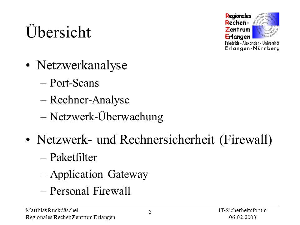 33 Matthias Ruckdäschel Regionales RechenZentrum Erlangen IT-Sicherheitsforum 06.02.2003 Literatur Schnelle Suche nach potentiellen Eindringlingen (Windows, Unix): http://www.psionic.com/papers/FastForensics.pdf