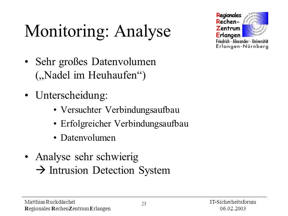 23 Matthias Ruckdäschel Regionales RechenZentrum Erlangen IT-Sicherheitsforum 06.02.2003 Monitoring: Analyse Sehr großes Datenvolumen (Nadel im Heuhau