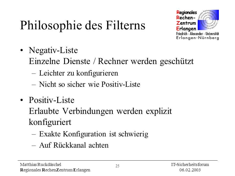 25 Matthias Ruckdäschel Regionales RechenZentrum Erlangen IT-Sicherheitsforum 06.02.2003 Philosophie des Filterns Negativ-Liste Einzelne Dienste / Rec