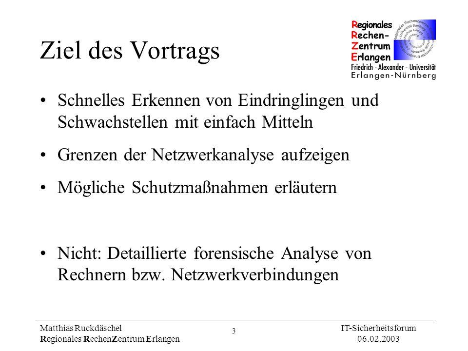 3 Matthias Ruckdäschel Regionales RechenZentrum Erlangen IT-Sicherheitsforum 06.02.2003 Ziel des Vortrags Schnelles Erkennen von Eindringlingen und Sc