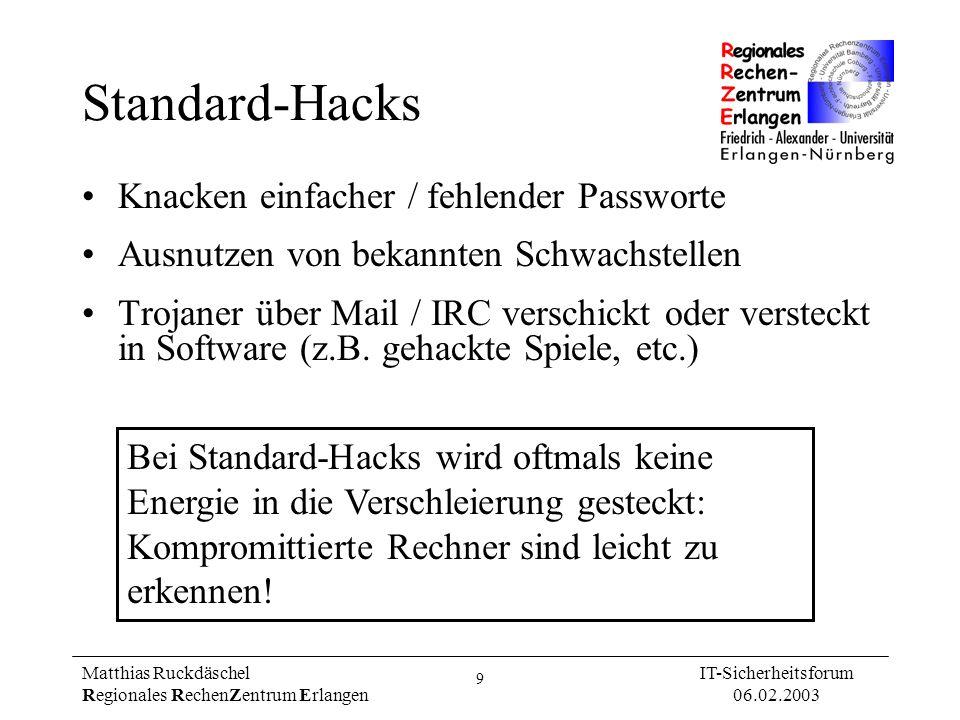 9 Matthias Ruckdäschel Regionales RechenZentrum Erlangen IT-Sicherheitsforum 06.02.2003 Standard-Hacks Knacken einfacher / fehlender Passworte Ausnutz