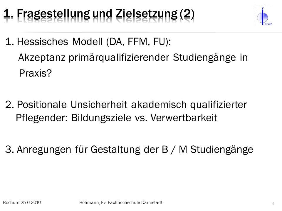 1.Hessisches Modell (DA, FFM, FU): Akzeptanz primärqualifizierender Studiengänge in Praxis.