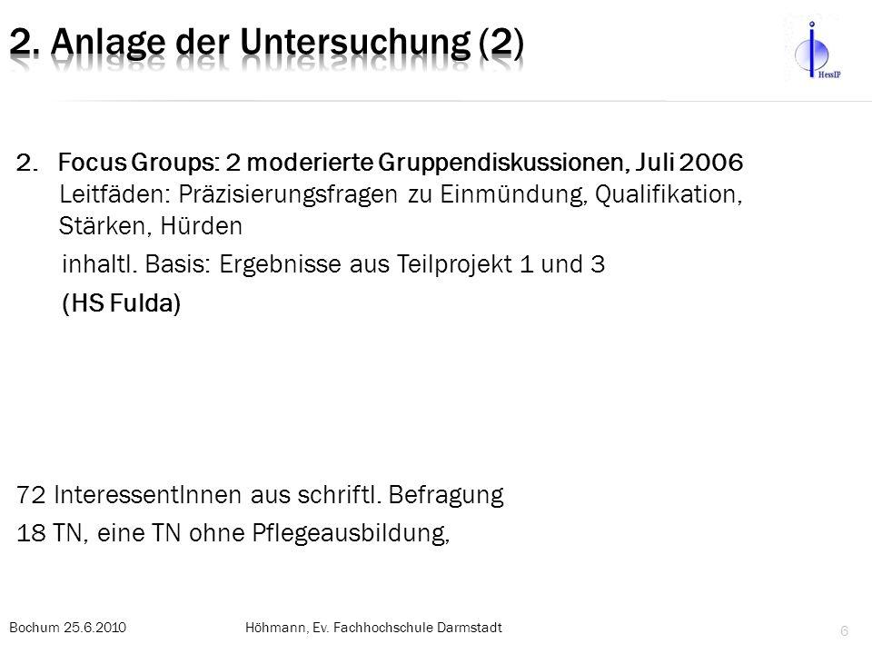 2. Focus Groups: 2 moderierte Gruppendiskussionen, Juli 2006 Leitfäden: Präzisierungsfragen zu Einmündung, Qualifikation, Stärken, Hürden inhaltl. Bas