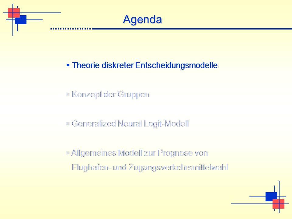 Theorie diskreter Entscheidungsmodelle Konzept der Gruppen Generalized Neural Logit-Modell Allgemeines Modell zur Prognose von Flughafen- und Zugangsverkehrsmittelwahl