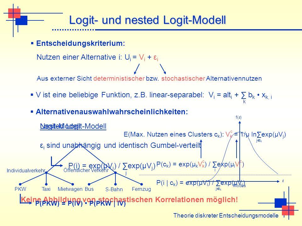 Theorie diskreter Entscheidungsmodelle Logit- und nested Logit-Modell Entscheidungskriterium: Nutzen einer Alternative i: U i = V i + ε i Aus externer