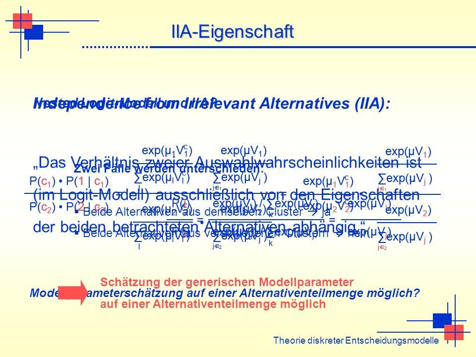 Modellparameterschätzung auf einer Alternativenteilmenge möglich? Theorie diskreter Entscheidungsmodelle IIA-Eigenschaft Independence from Irrelevant
