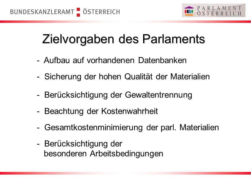 Zielvorgaben des Parlaments - Aufbau auf vorhandenen Datenbanken - Sicherung der hohen Qualität der Materialien - Berücksichtigung der Gewaltentrennun