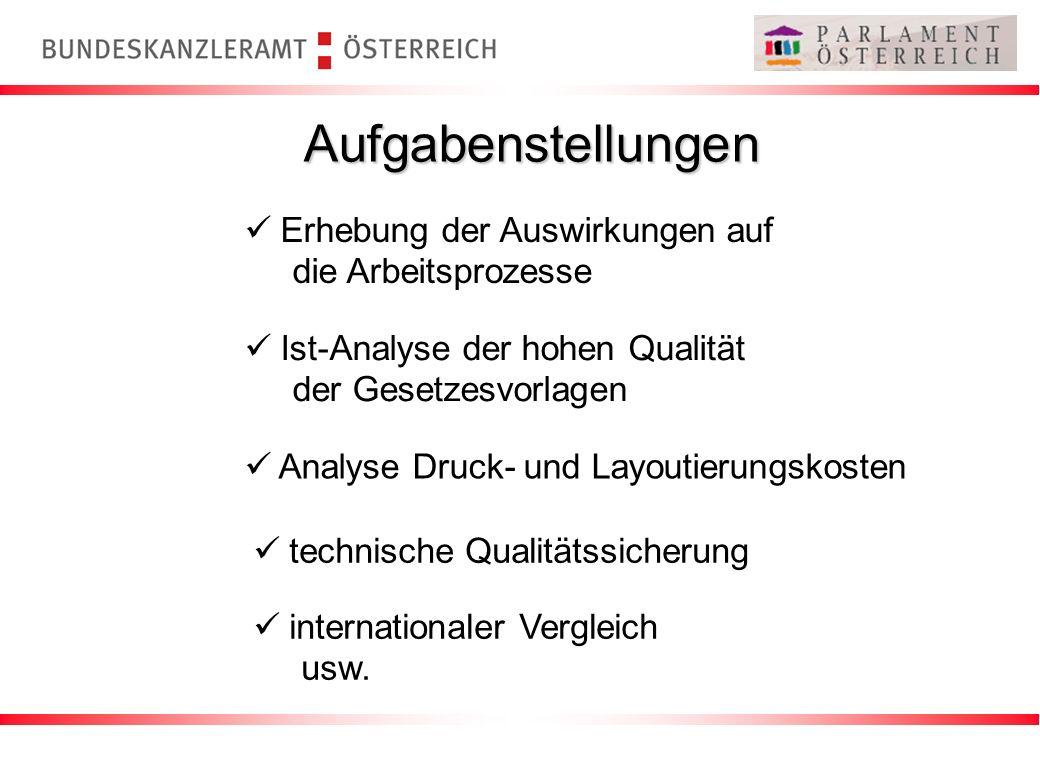 Aufgabenstellungen Erhebung der Auswirkungen auf die Arbeitsprozesse Ist-Analyse der hohen Qualität der Gesetzesvorlagen Analyse Druck- und Layoutieru