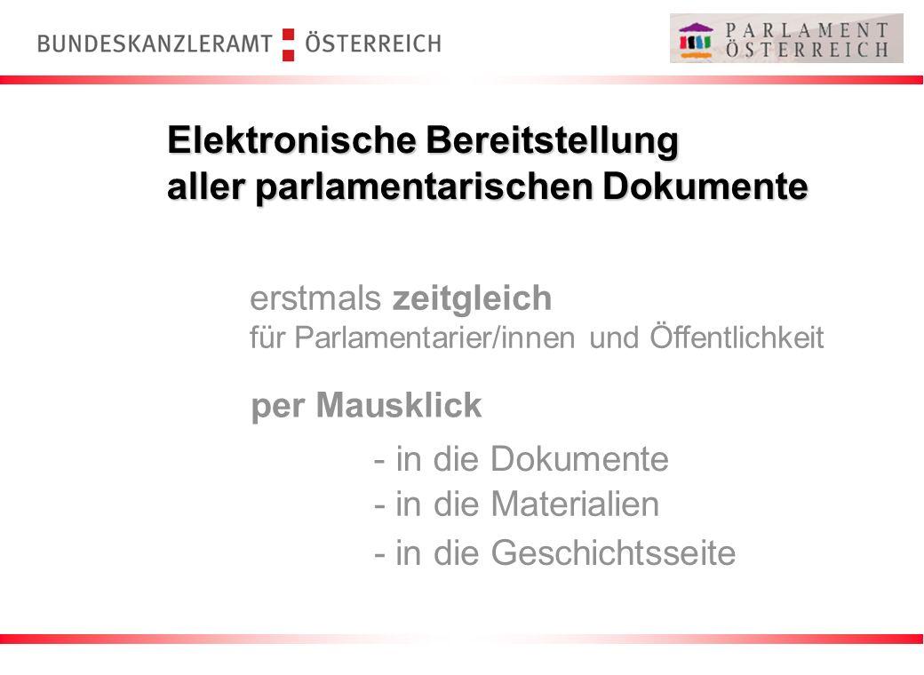 Elektronische Bereitstellung aller parlamentarischen Dokumente erstmals zeitgleich für Parlamentarier/innen und Öffentlichkeit per Mausklick - in die