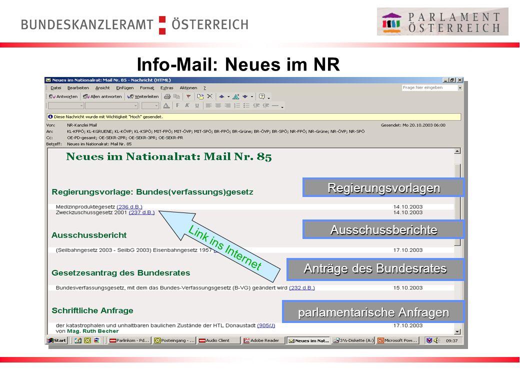 Info-Mail: Neues im NR Regierungsvorlagen Ausschussberichte Anträge des Bundesrates parlamentarische Anfragen Link ins Internet