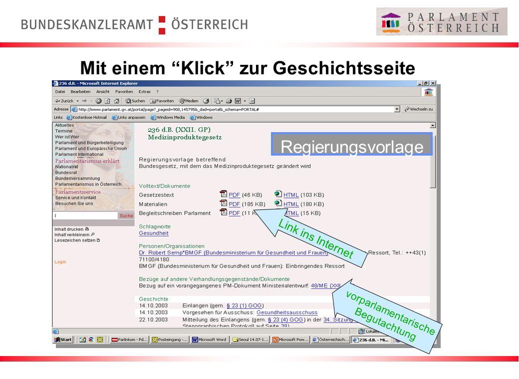 Mit einem Klick zur Geschichtsseite Regierungsvorlage vorparlamentarische Begutachtung Link ins Internet